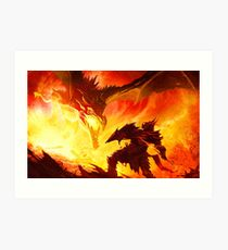 Warrior Facing Dragon Art Print