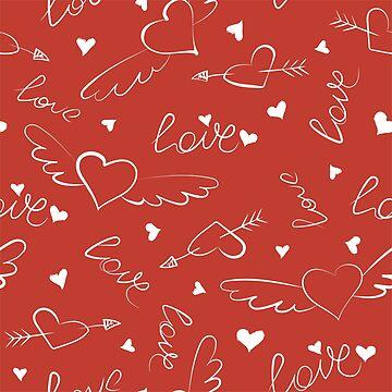 Doodle love seamless pattern by alijun