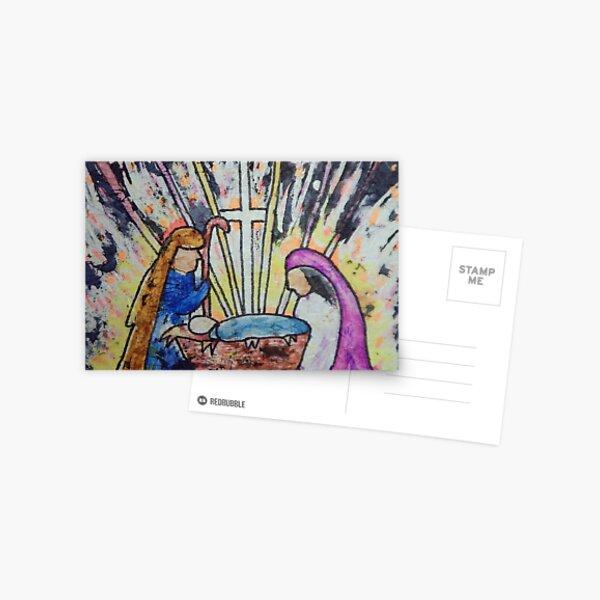 Christmas Watercolour Batik Creche Scene Postcard
