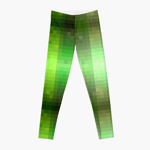 Pixelated Green Stripes  Leggings