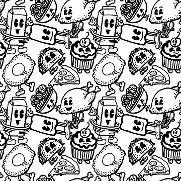 Monochrome Rad Foods Repeat Pattern by blakechamberlai