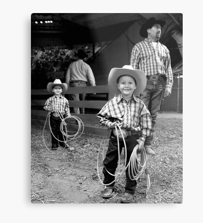 Roping Family Metal Print