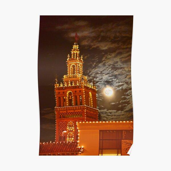 """""""Full Moon and Giralda Tower, Kansas City, Missouri Poster"""