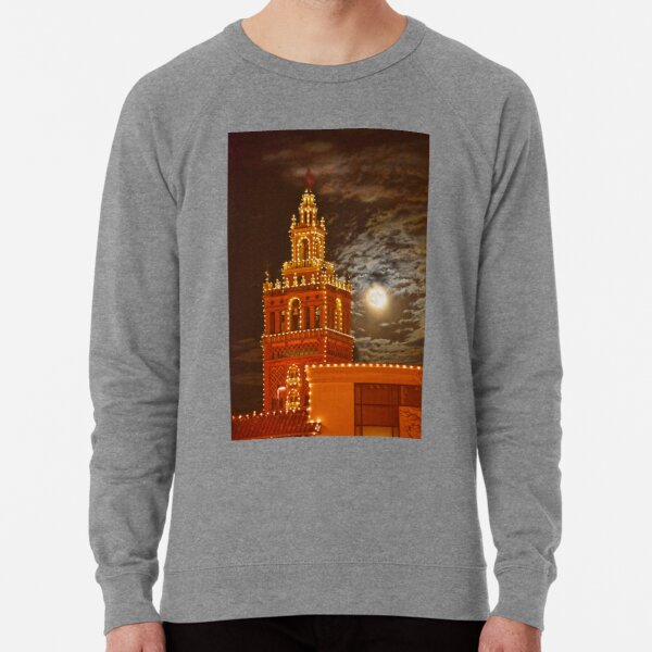 """Full Moon and Giralda Tower, Kansas City, Missouri Lightweight Sweatshirt"