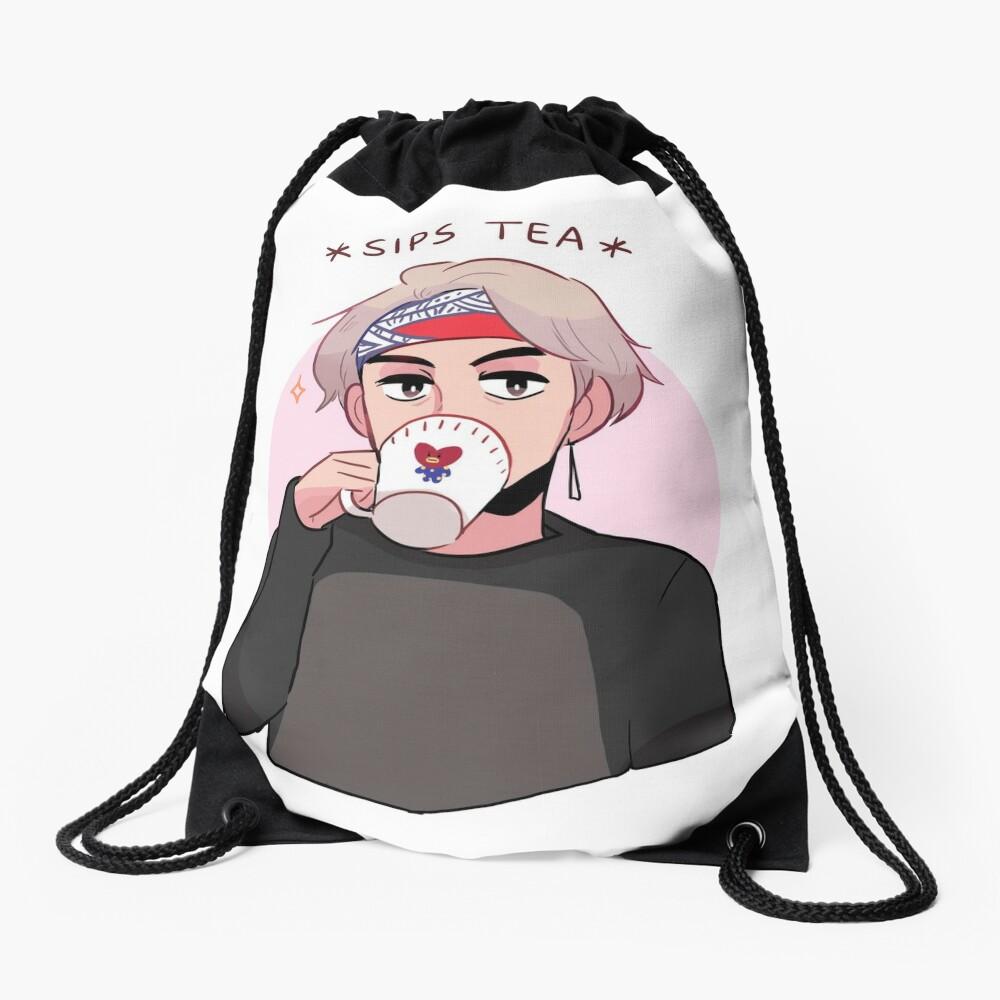 MIC DROP: V SIPPIN TEA Drawstring Bag