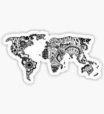 Map of the World Zentangle Sticker