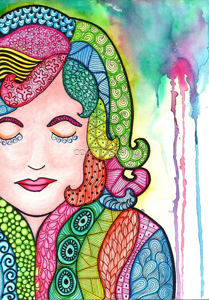 Watercolor Doodle   Groovy Girl by coloringiship