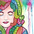 Watercolor Doodle Art | Groovy Girl by coloringiship