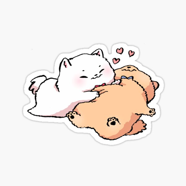 Bachoochi and Chichooba the Pomeranian Dogs Hugs Sticker