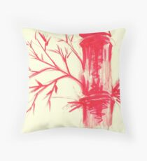 Fire Bamboo - watercolor and dry brush painting Throw Pillow