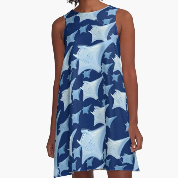 Stingray Manta Ray Pattern A-Line Dress