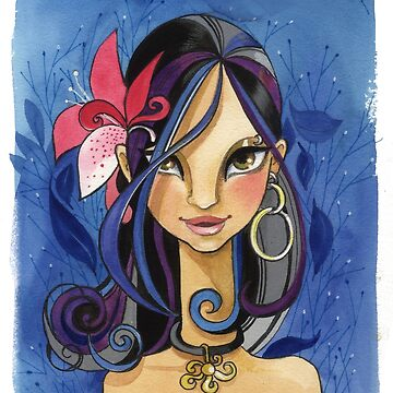 Das Mädchen mit Blumen im Haar von Niloufer