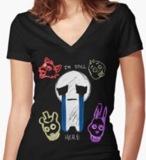 FNAF - Crying Child with pals Women's Fitted V-Neck T-Shirt