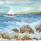 Surf on the Rocks by Mary Sedici