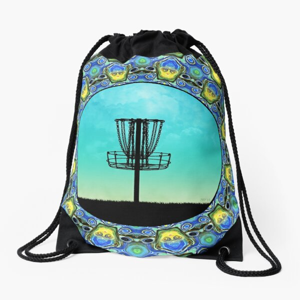Disc Golf Abstract Basket 5 Drawstring Bag