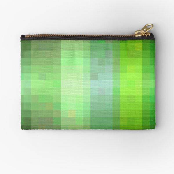 Pixelated Green Stripes  Zipper Pouch