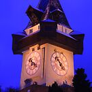 Clock Tower of Graz in Christmas time by christopher363