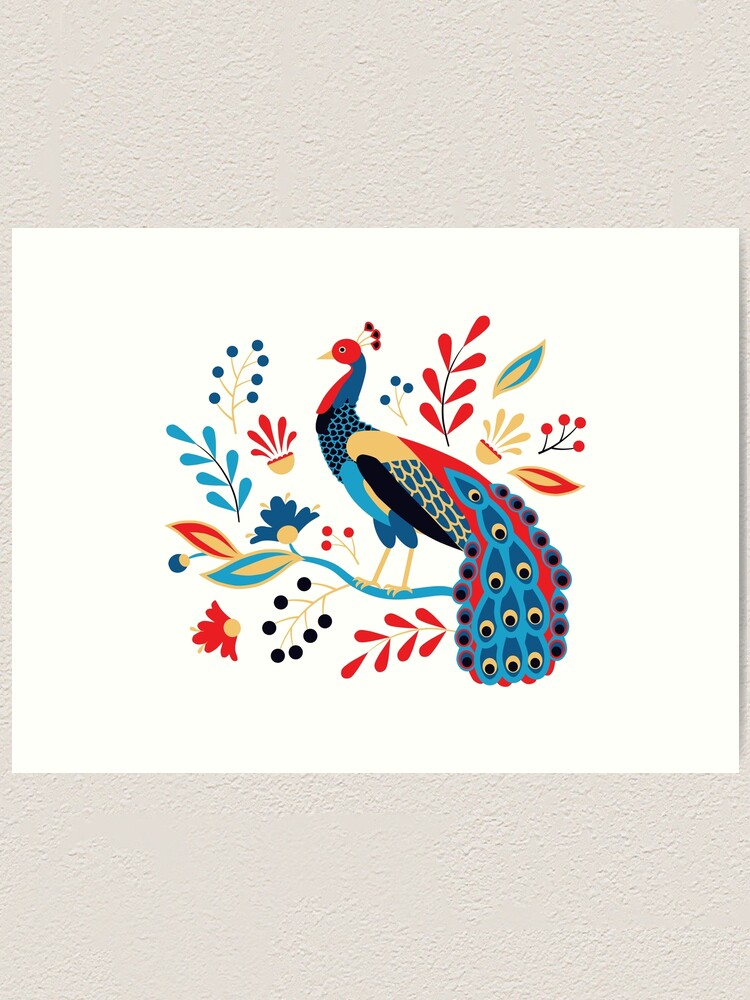 Alternate view of Folk Peacock Bright Art Print