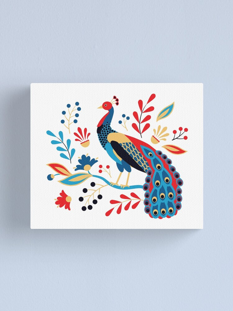 Alternate view of Folk Peacock Bright Canvas Print