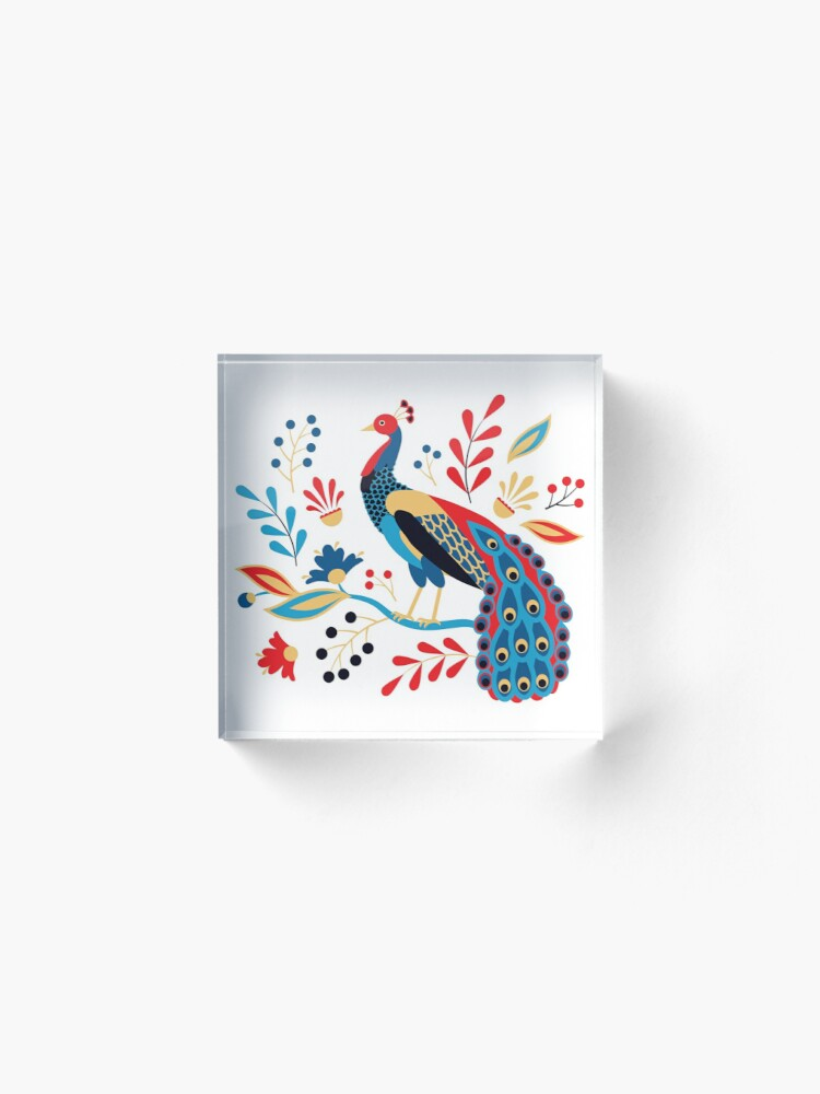 Alternate view of Folk Peacock Bright Acrylic Block