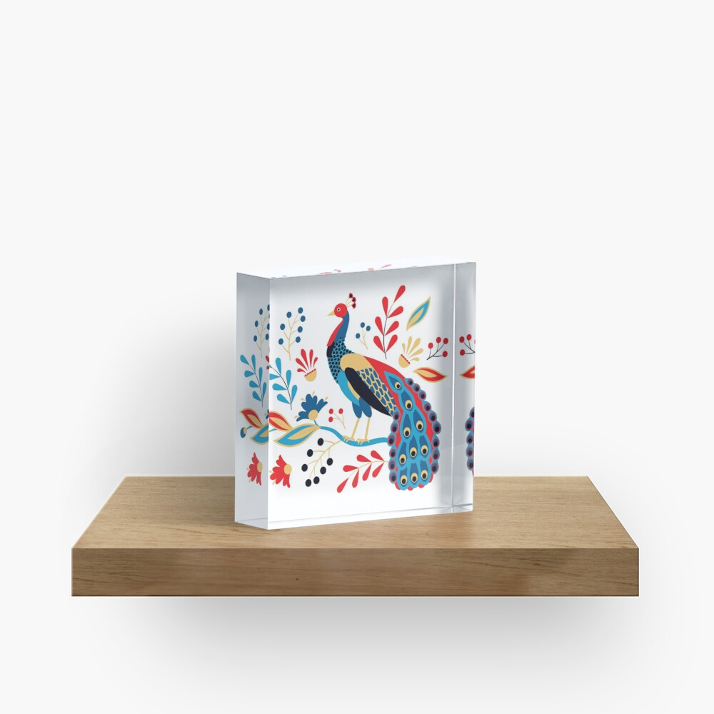 Folk Peacock Bright Acrylic Block