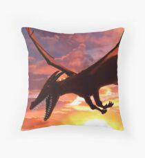 Soaring - Dragon Illustration Throw Pillow