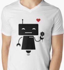 Robot With Flower V-Neck T-Shirt