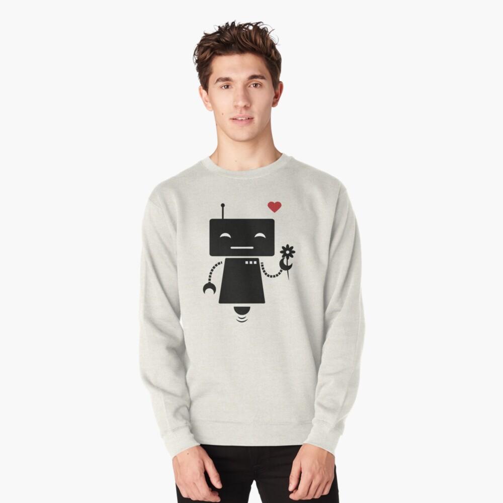 Robot With Flower Pullover Sweatshirt