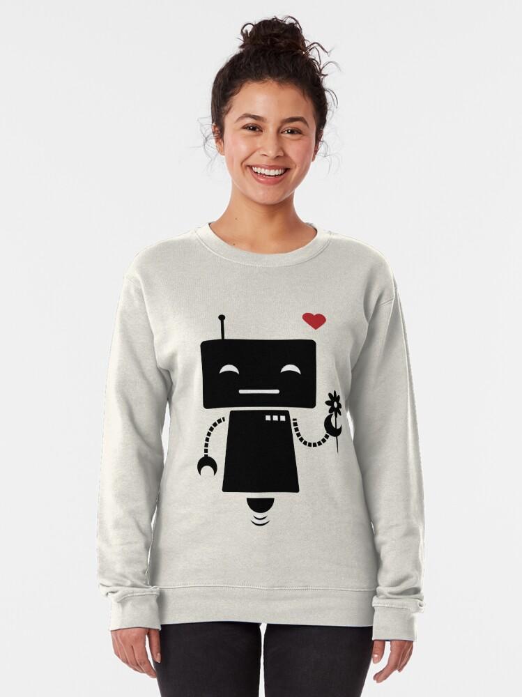 Alternate view of Robot With Flower Pullover Sweatshirt