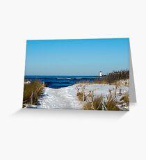 Snowy Path to the Beach Greeting Card