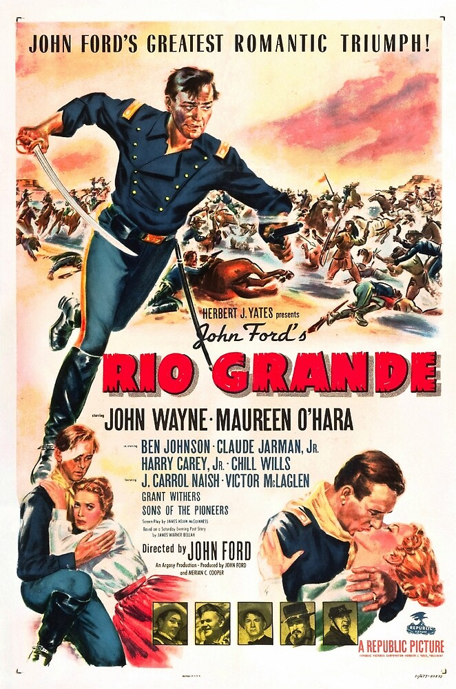 Vintage Hollywood Nostalgia Rio Grande John Wayne Film Movie Advertisement Poster by jnniepce