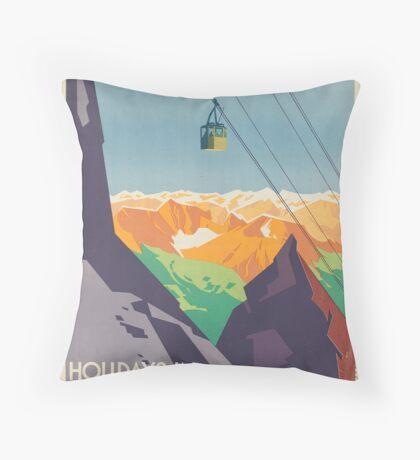 Vintage Austria Mountains Ski Lift Travel Advertisement Art Posters Throw Pillow