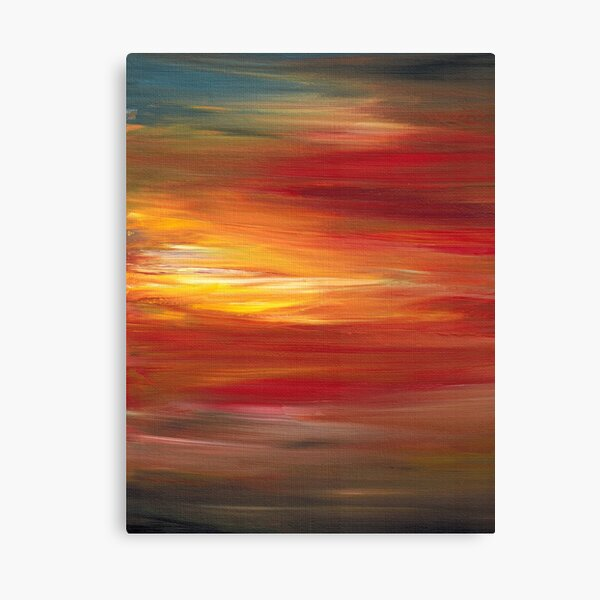 COLOR INTOXICATION 1 Colorcul Bold Deep Garnet Crimson Red Yellow Black Sunrise Sunset Ombre Abstract Acrylic Painting Canvas Print