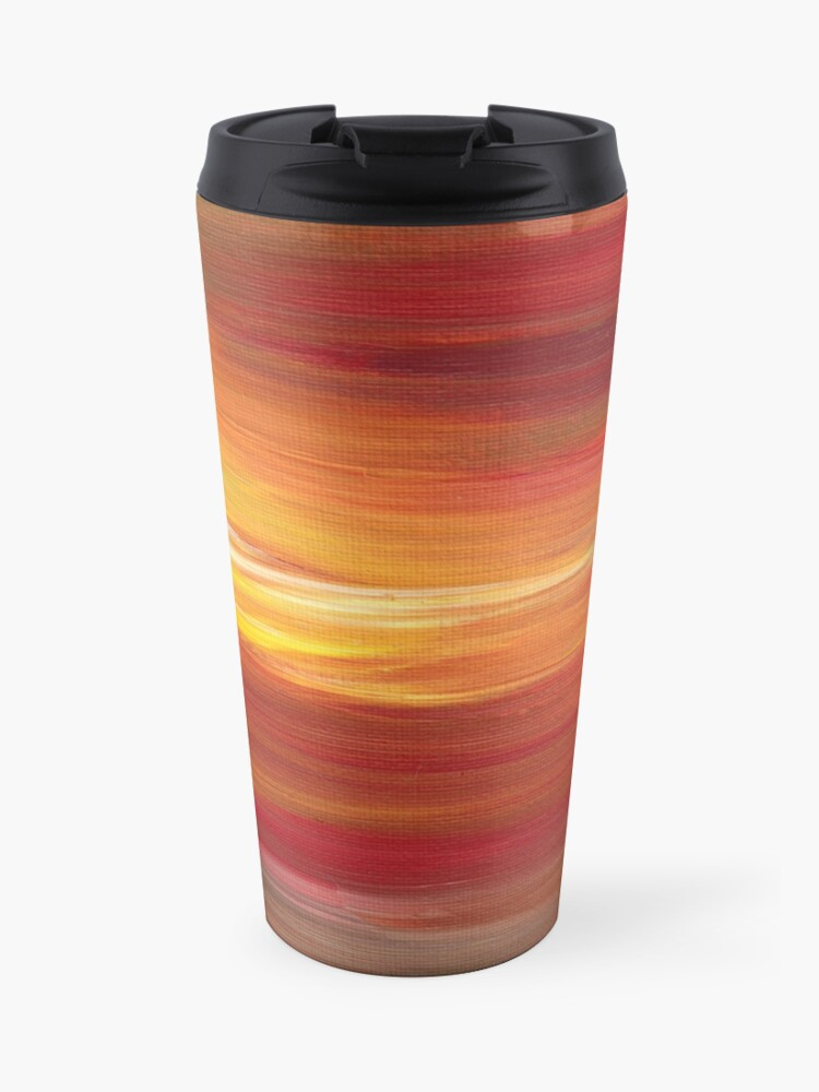 COLOR INTOXICATION 1 Colorcul Bold Deep Garnet Crimson Red Yellow Black  Sunrise Sunset Ombre Abstract Acrylic Painting   Travel Mug