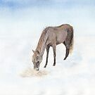 Horse in a winter landscape by Linda Ursin