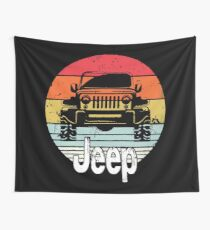 Vintage Jeeps Retro Distressed Wall Tapestry