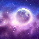 Starry sky background and full moon by AnnArtshock