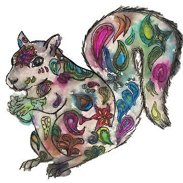 Squirrely Watercolor by Creatividad