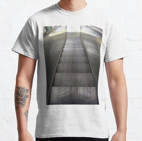 Escalator #Escalator #steel #modern #indoors #station #ceiling #futuristic #horizontal #colorimage #steps #subway #diminishingperspective #point Planck constant, #Planck, #constant, #PlanckConstant Classic T-Shirt