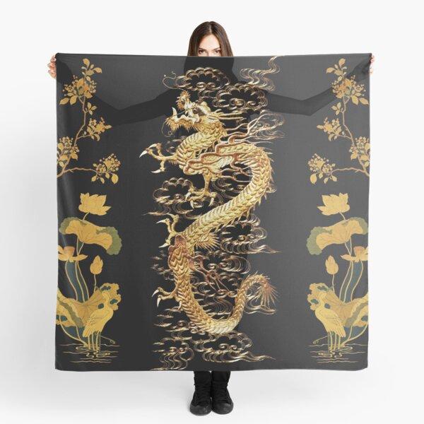 GOLD DRAGON IN BLACK,Egret,Lotus,Green Gold  Floral Scarf