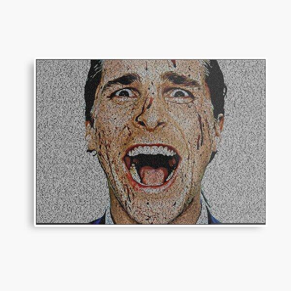 Text Portrait of Patrick Bateman with full script of American Psycho. Metal Print