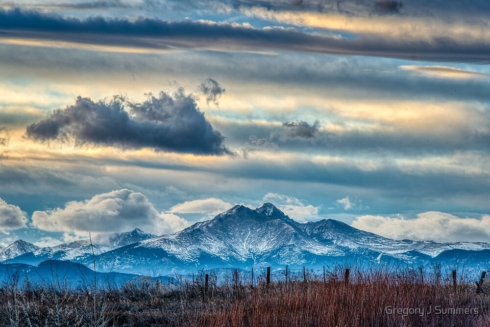 Sunset Over Mt Meeker and Longs Peak by Gregory J Summers