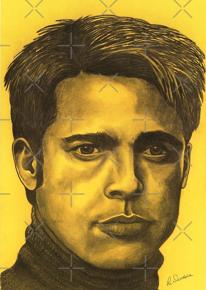 Brad Pitt celebrity portrait by Margaret Sanderson