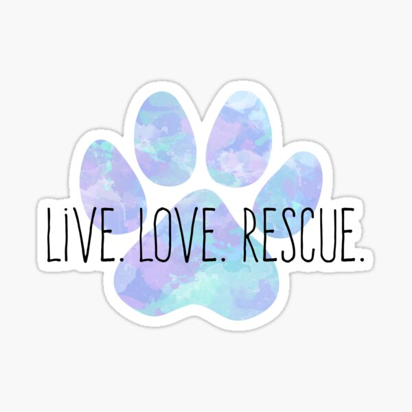 Live Love Rescue Blue Water Color Dog Paw Sticker