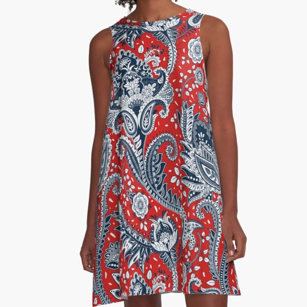 Red White & Blue Floral Paisley A-Line Dress