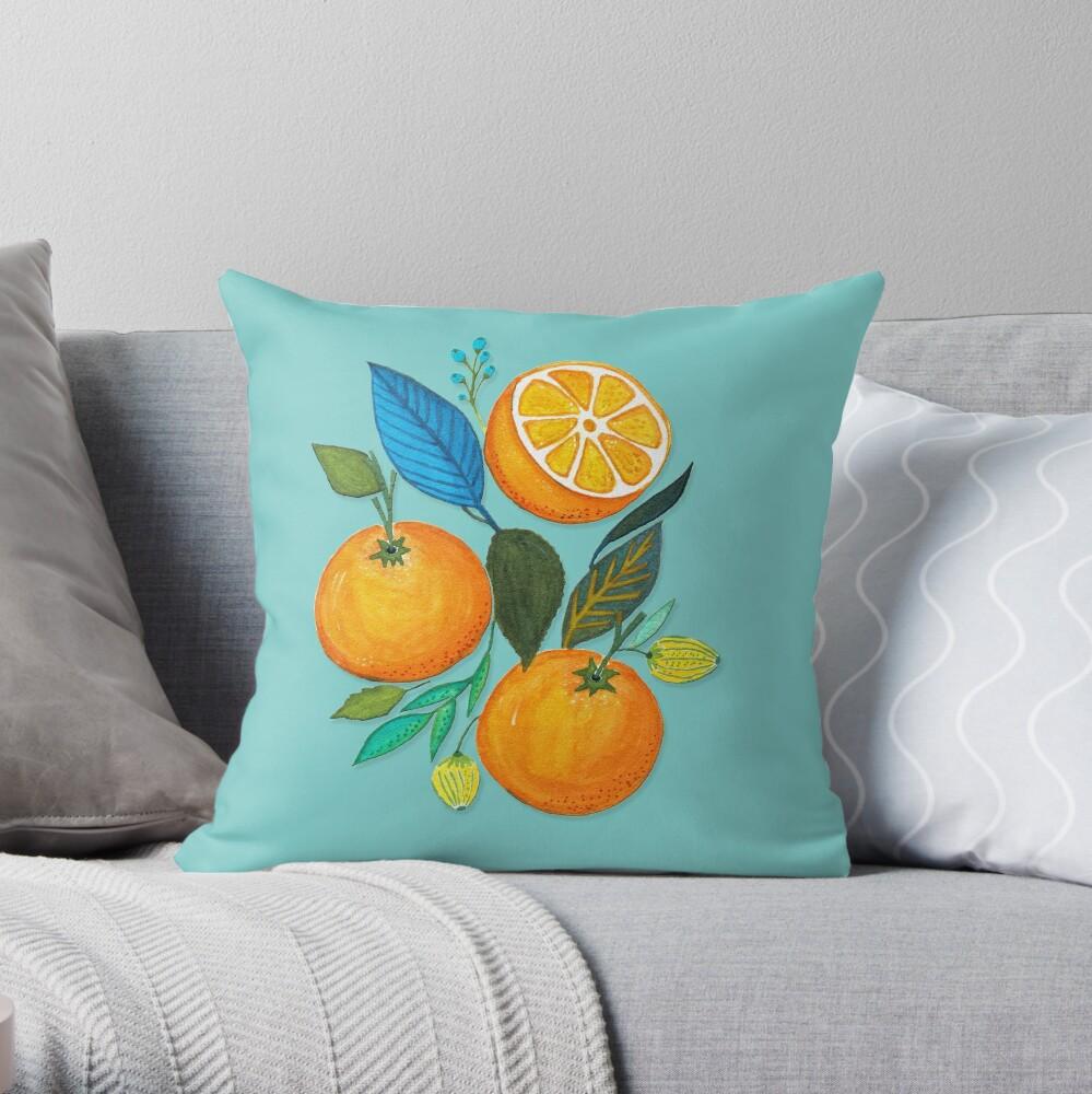 Lady Orange Throw Pillow