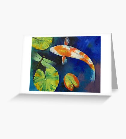 Kohaku Koi and Dragonfly Greeting Card