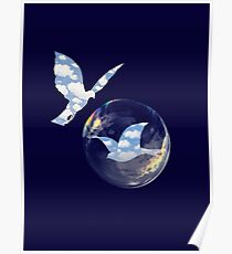 love and freedom, birds magritte  Poster