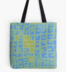 Modern Blue and Green Square Print Tote Bag