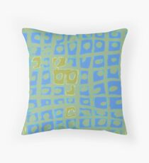 Modern Blue and Green Square Print Throw Pillow
